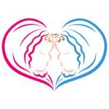 Sweet heart, newborns, boy and girl, twins stock illustration