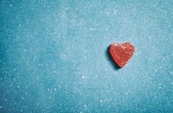 Sweet heart. Sweet red heart on blue background Royalty Free Stock Photos