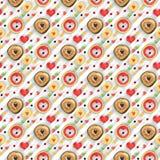 Sweet heart seamless pattern applied. Heart shaped fruit and sweets seamless pattern applied royalty free stock image