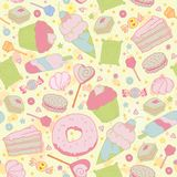 Sweet heart seamless pattern - sweets, cupcakes, Royalty Free Stock Photography