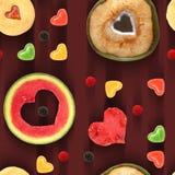 Sweet heart seamless pattern tile. Heart shaped fruit and sweets seamless pattern tile stock photo