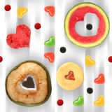 Sweet heart seamless pattern tile. Heart shaped fruit and sweets seamless pattern tile Royalty Free Stock Photos