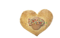 Sweet heart-shaped biscuit with egg Royalty Free Stock Photo