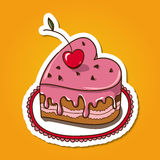 Sweet heart shaped cake. Stock Images