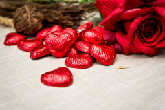 Sweet heart shaped chocolates candies Royalty Free Stock Images