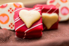 Sweet heart shaped chocolates candies. Love sweet heart shaped chocolates candies Stock Photography