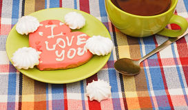 Sweet heart shaped cookie Stock Photos