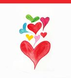 Sweet hearts. Fun curvy love hearts in watercolor Stock Images