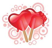 Sweet hearts. Vector illustration of ice-cream in the form of two hearts Stock Photography