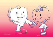 Sweet hearts. A pair of sweet hearts holding hands Stock Images