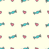 Sweet hearts and candies seamless pattern Royalty Free Stock Images
