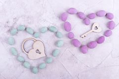 Sweet hearts, lock and key. Lock and key in two hearts. Two hearts matching each other royalty free stock photo