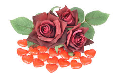 Sweet hearts and roses Stock Photos