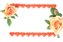 Sweet hearts and roses Stock Images