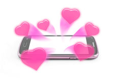 Sweet hearts rush from smartphone Royalty Free Stock Images