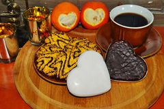 Sweet Hearts - shaped gingerbread Royalty Free Stock Images