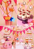 Sweet holiday buffet collage Stock Photo