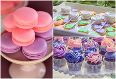 Sweet holiday buffet collage. Delicious sweet buffet with cupcakes, macarons, cookies. high-resolution collage Stock Photography