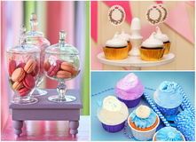 Sweet holiday buffet collage. Delicious sweet buffet with cupcakes and macarons. high-resolution collage Stock Images