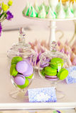 Sweet holiday buffet with macarons and meringues Royalty Free Stock Photography