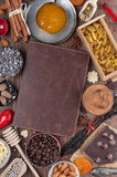 Sweet holiday recipes. Cover of the book to write prescriptions surrounded ingredients for a sweet holiday baking Stock Image