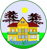 Sweet home. Illustration for the real estate market and proud house owner Stock Images