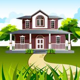 Sweet Home. Illustration of front view of house in natural background Royalty Free Stock Images