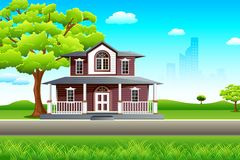 Sweet Home. Illustration of sweet home on beautiful landscape Royalty Free Stock Photo