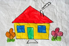 Sweet home. A painting of a home on white wrinkled paper Royalty Free Stock Photography