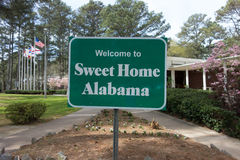 Sweet home alabama welcome sign at rest area stop off highway Royalty Free Stock Image