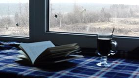 Sweet home are book, coffee, plaid and snow outside stock video footage