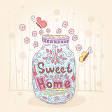 Sweet home. Bottle with an inscription. Small flowers. Pastel vintage colors. Stock Photography