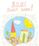 Sweet home card with town and sun Royalty Free Stock Images