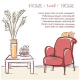 Sweet home card.Vector hand drawing illustration Stock Images