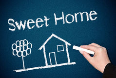 Sweet Home Chalk Drawing Stock Images