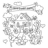 Sweet Home doodles coloring page Royalty Free Stock Photography