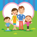 Sweet home family. Portrait of four member family posing together smiling happy with Heart background Stock Photography