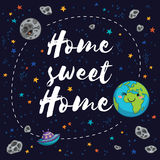 Sweet home. Fantastic childish background in bright colors Stock Image