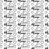 Sweet Home hand drawn lettering words, house and heart silhouette seamless pattern isolated. Poster, banner template vector illustration