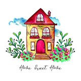 Sweet home label. Cute watercolor old building with branches and herbs isolated on white background. Hand painted card Royalty Free Stock Photo
