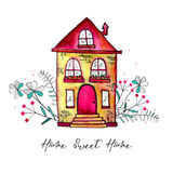Sweet home label. Cute watercolor old building with branches and herbs isolated on white background. Hand painted card. With happy house and flowers. Raster Royalty Free Stock Image