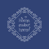 Sweet home lettering and frame line art Monogram Stock Photos