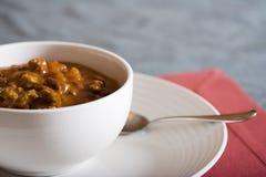 Sweet home made chili. Chunky homemade chili kidney beans tomatos and ground beef Stock Image