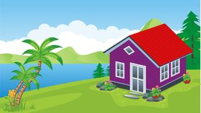 Sweet Home. New Design Sweet Home with flower, grass and beautiful landscape color Stock Photography