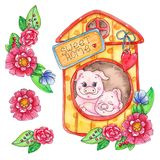 Sweet home piggy illustration isolated on white background stock illustration