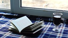 In sweet home plaid, book, coffee and snow outside stock video footage