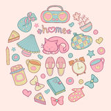 Sweet Home, set of vector design home elements, cute cat, cups of coffee, cake, jam, sneakers, alarm clocks etc. Sweet Home, set of vector design home elements stock illustration