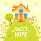 Sweet home. Stylish card with beautiful house on the hill in cartoon style Stock Photo