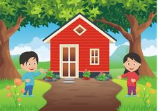 Sweet Home with Two kid. And beautiful landscape, funny and lovely design Stock Photo