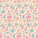Sweet Home vector seamless pattern. Set of vector design home elements with cute cat, cups of coffee, alarm clocks etc. Royalty Free Stock Image